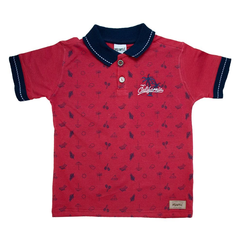 Camiseta Infantil Gola Polo Summer Vermelho  - Jeito Infantil