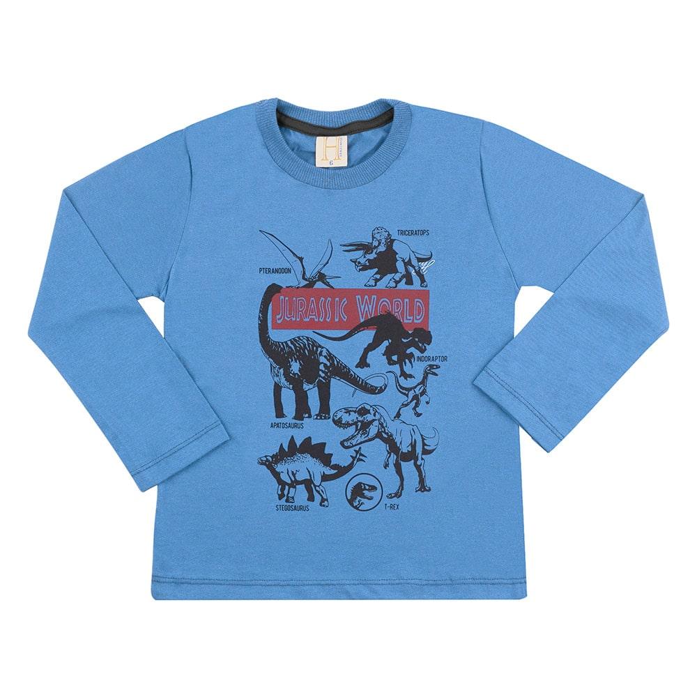 Camiseta Infantil Jurassic World Azul  - Jeito Infantil