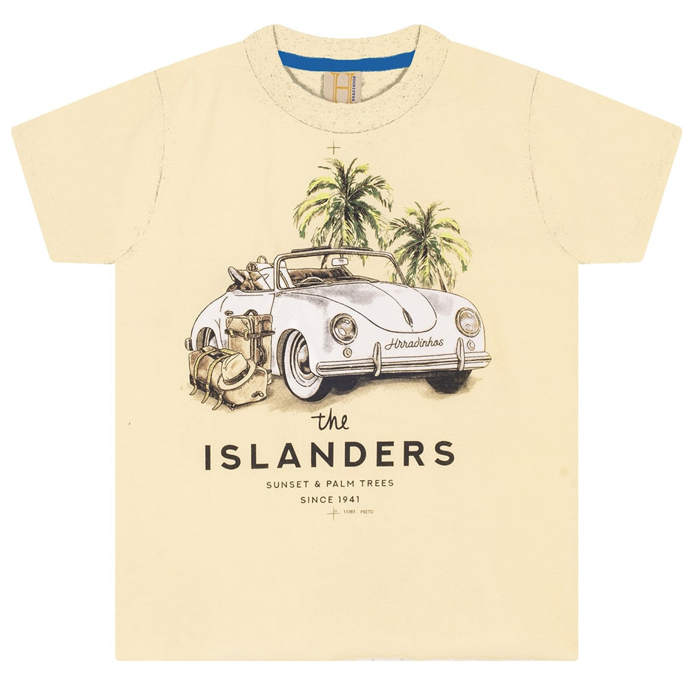 Camiseta Infantil / Juvenil Fusca  Amarela  - Jeito Infantil