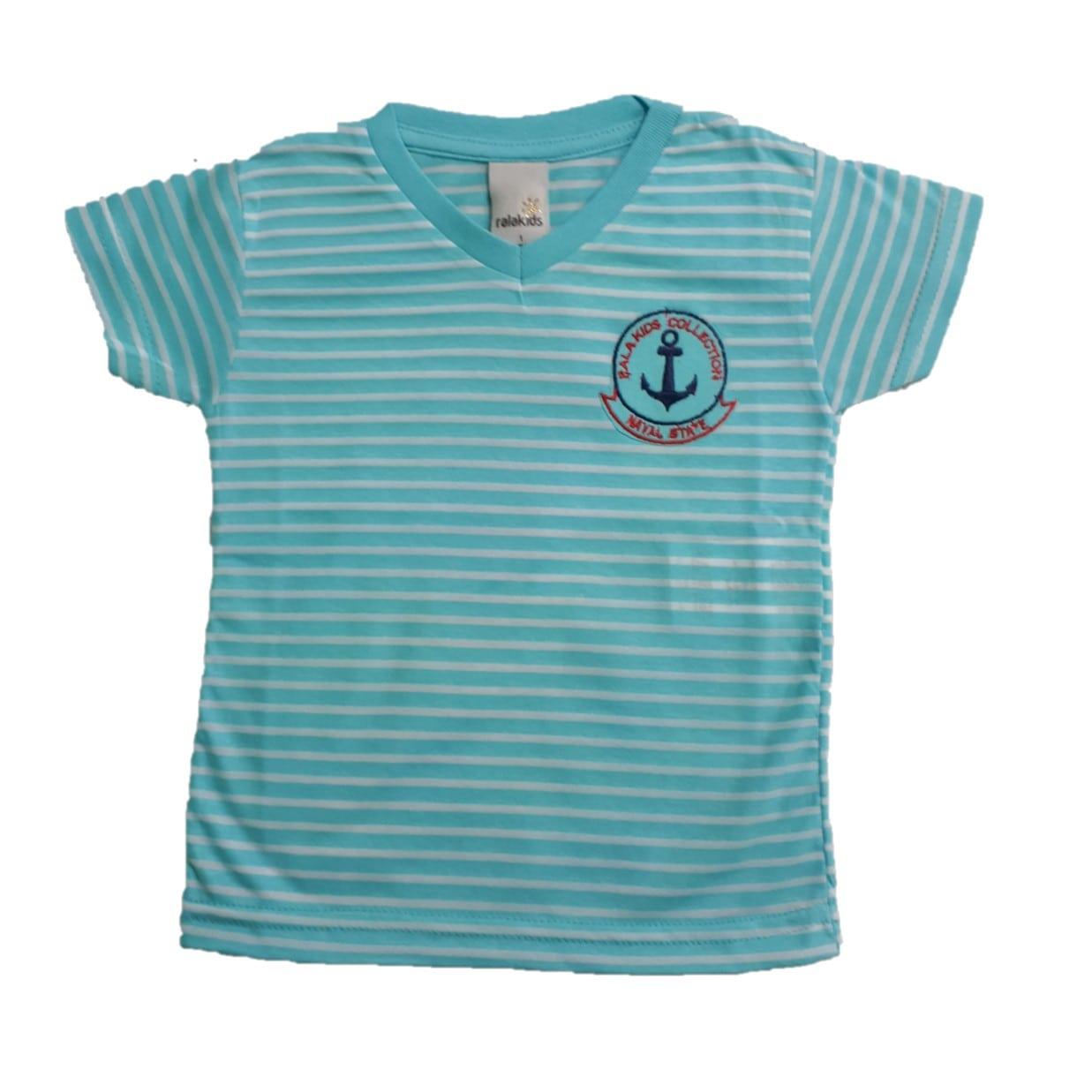 Camiseta Infantil Listras Azul  - Jeito Infantil