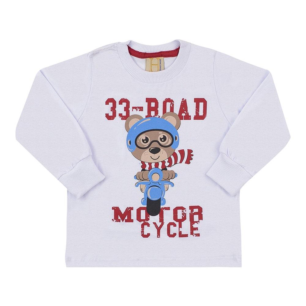 Camiseta Infantil Manga Longa 33 Road Urso Branca  - Jeito Infantil