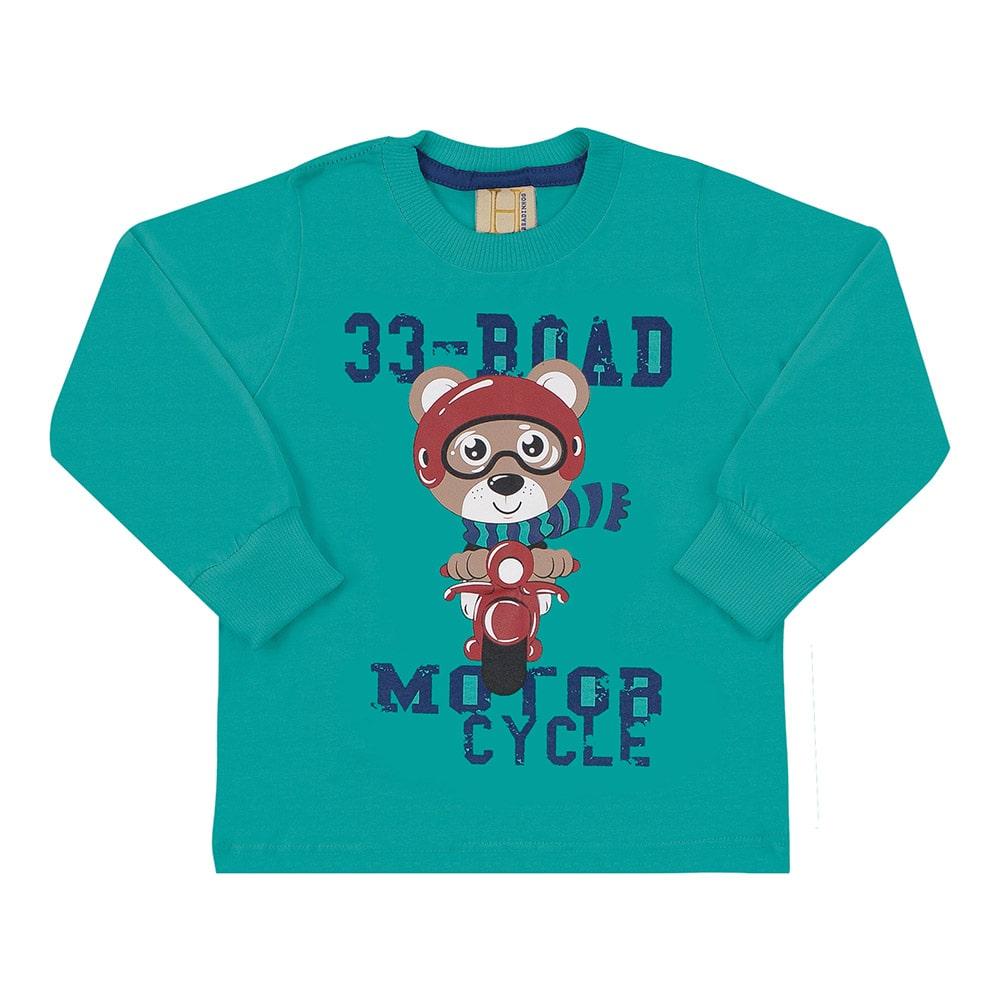 Camiseta Infantil Manga Longa 33 Road Urso Verde  - Jeito Infantil