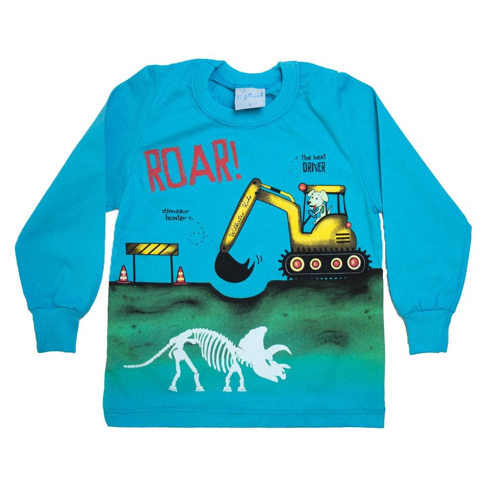 Camiseta Infantil Manga Longa Escavadeira Turquesa  - Jeito Infantil