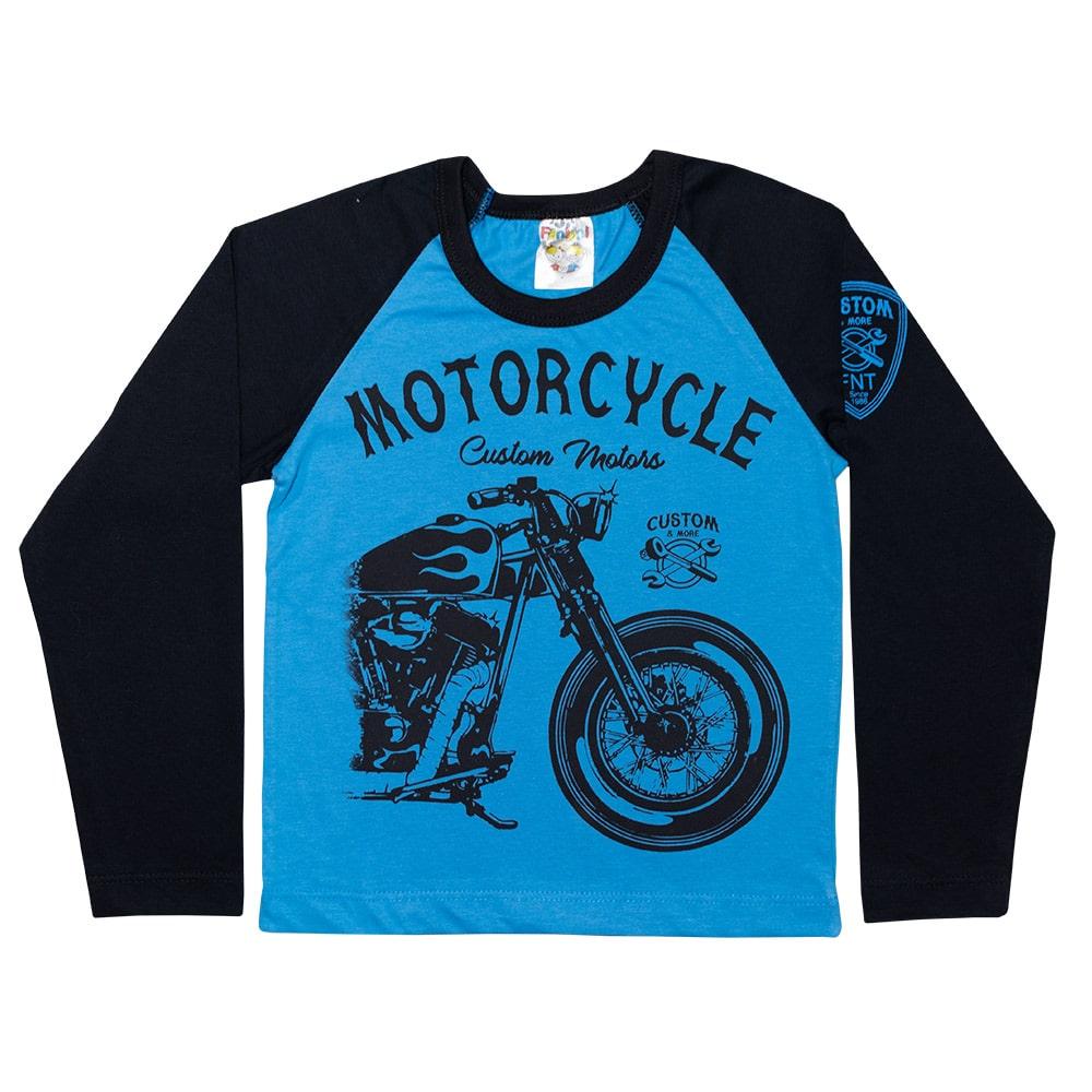 Camiseta Infantil Manga Longa Motorcicle Azul Royal  - Jeito Infantil