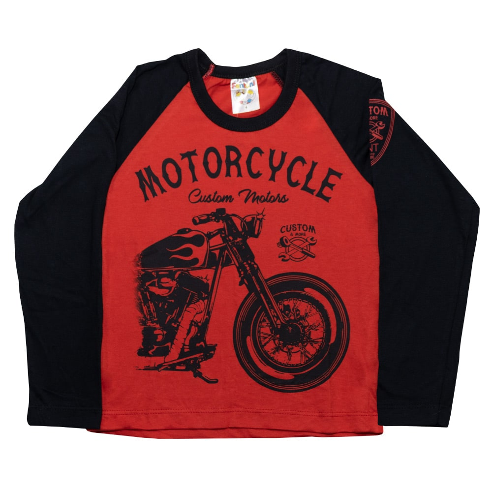 Camiseta Infantil Manga Longa Motorcicle Vermelho  - Jeito Infantil