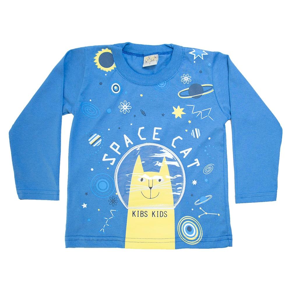 Camiseta Infantil Manga Longa Space Azul  - Jeito Infantil
