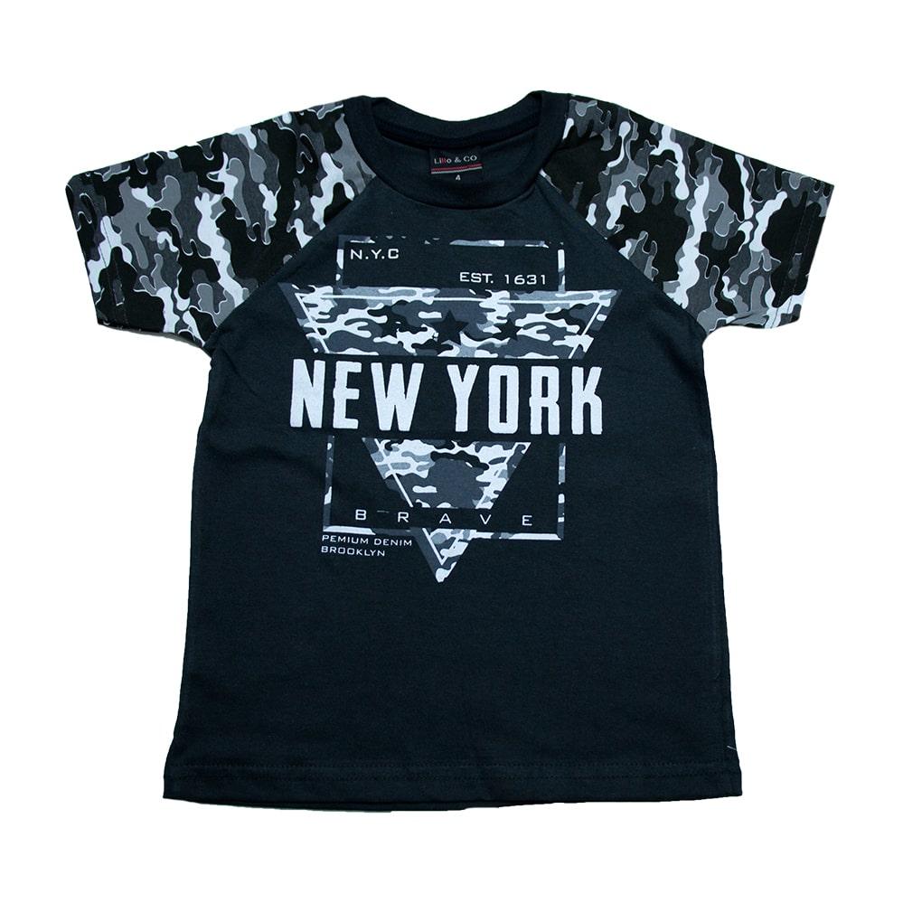 Camiseta Infantil New York Chumbo  - Jeito Infantil