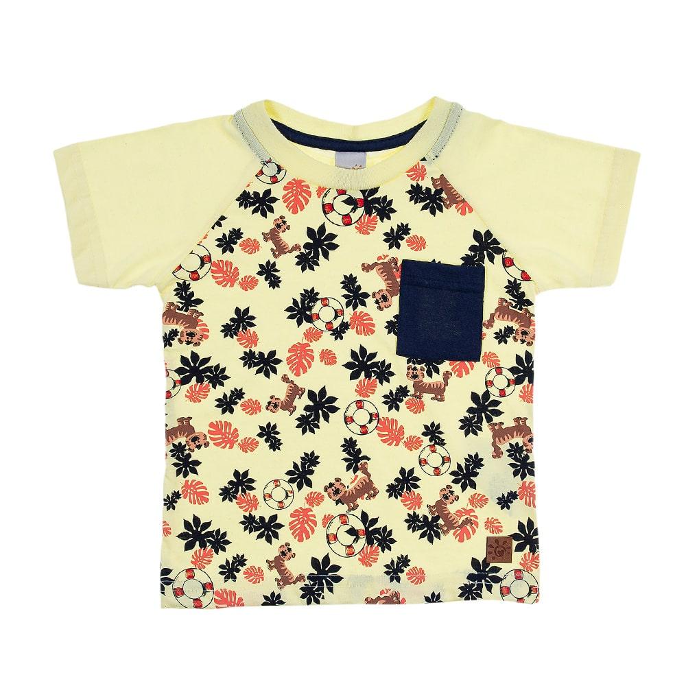 Camiseta Infantil Raglã Tigre Amarela  - Jeito Infantil