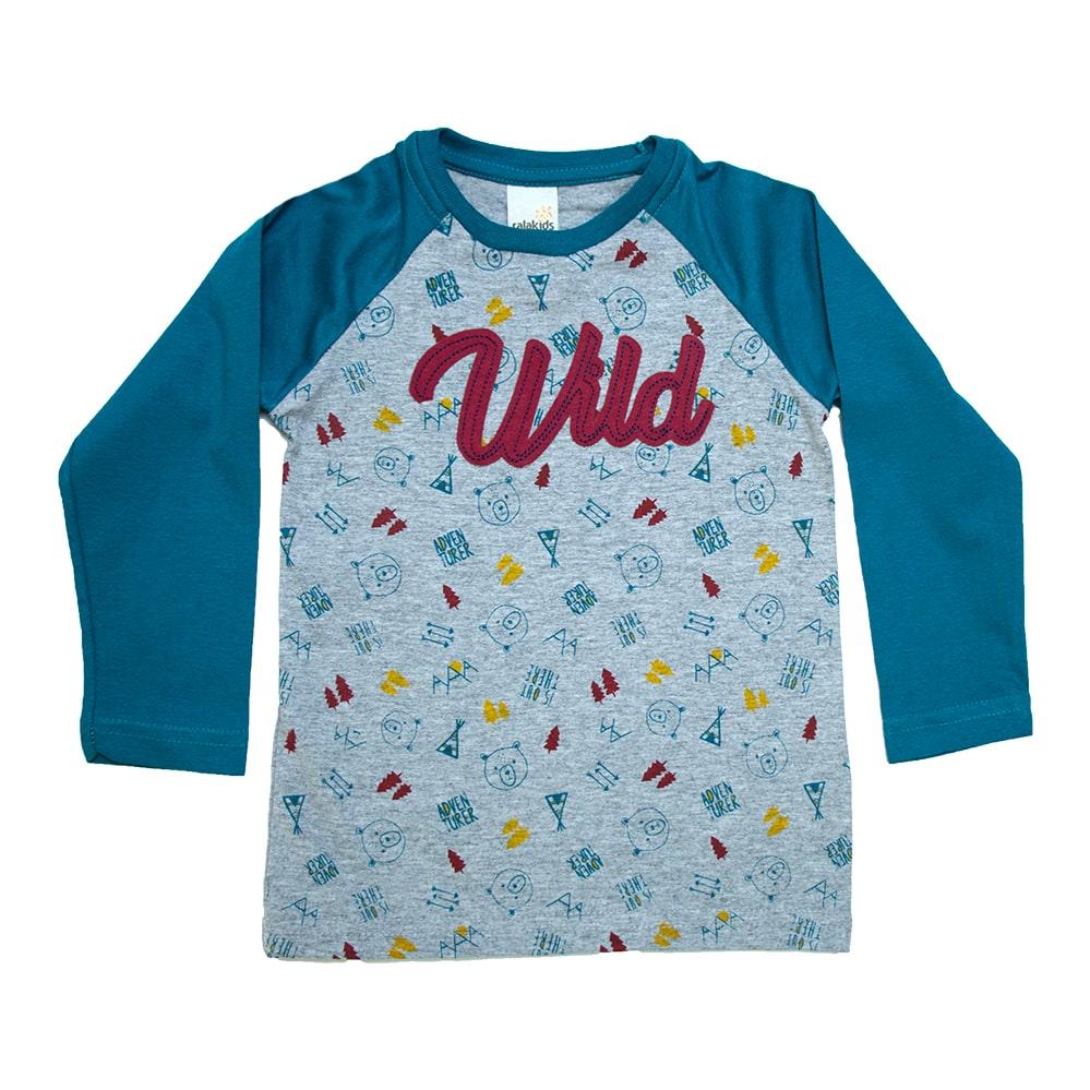 Camiseta Infantil Raglã Wild Azul Petróleo  - Jeito Infantil