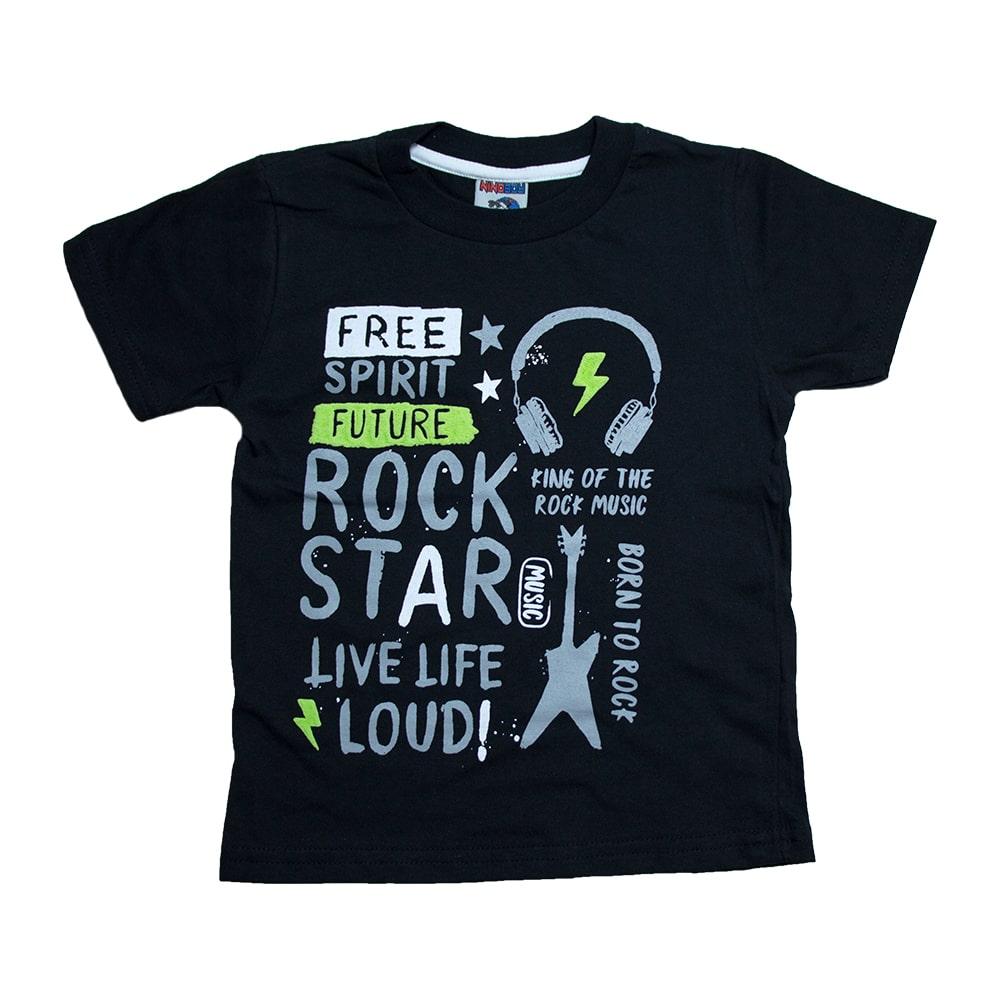 Camiseta Infantil Rock Star  Preto  - Jeito Infantil