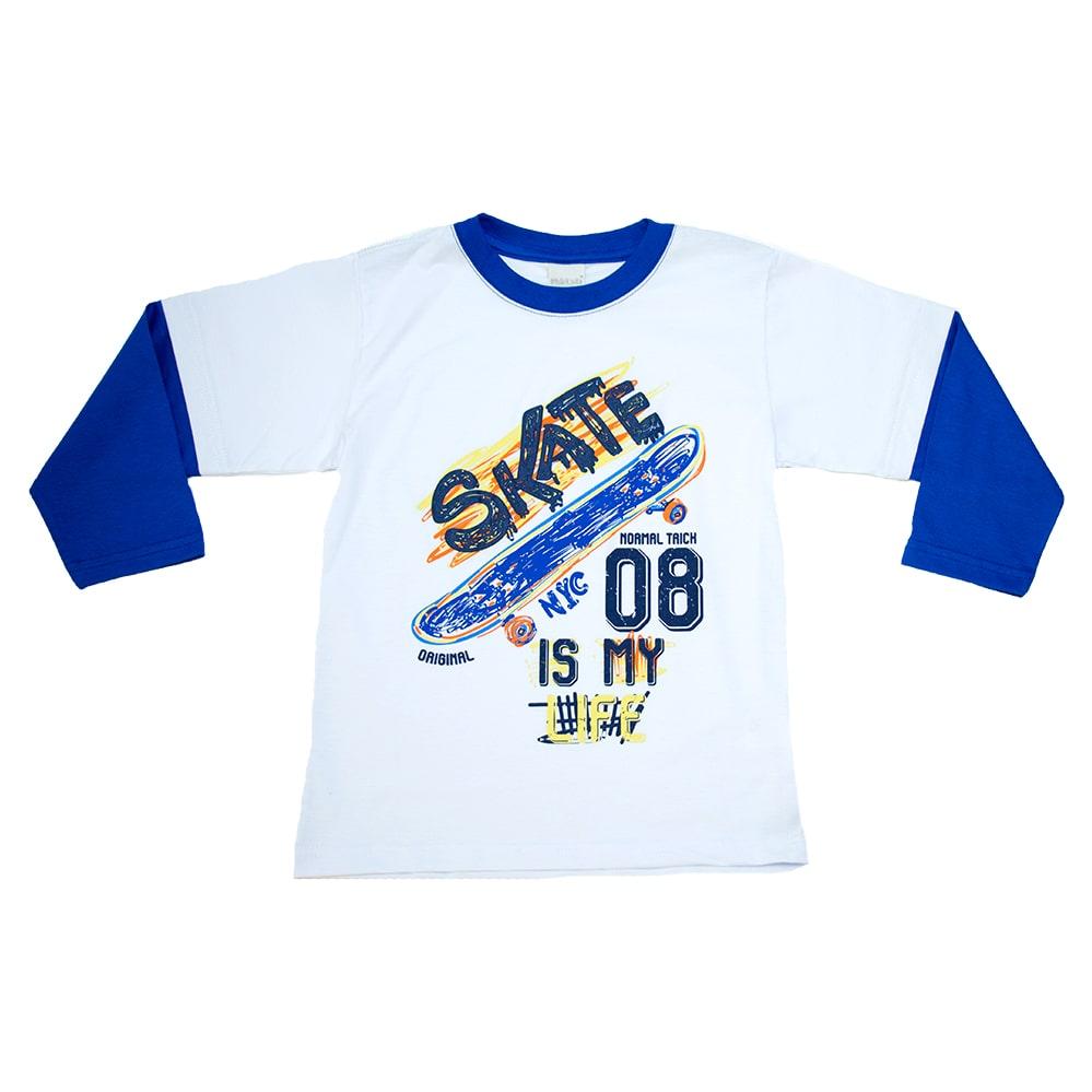 Camiseta Infantil Skate Branca  - Jeito Infantil