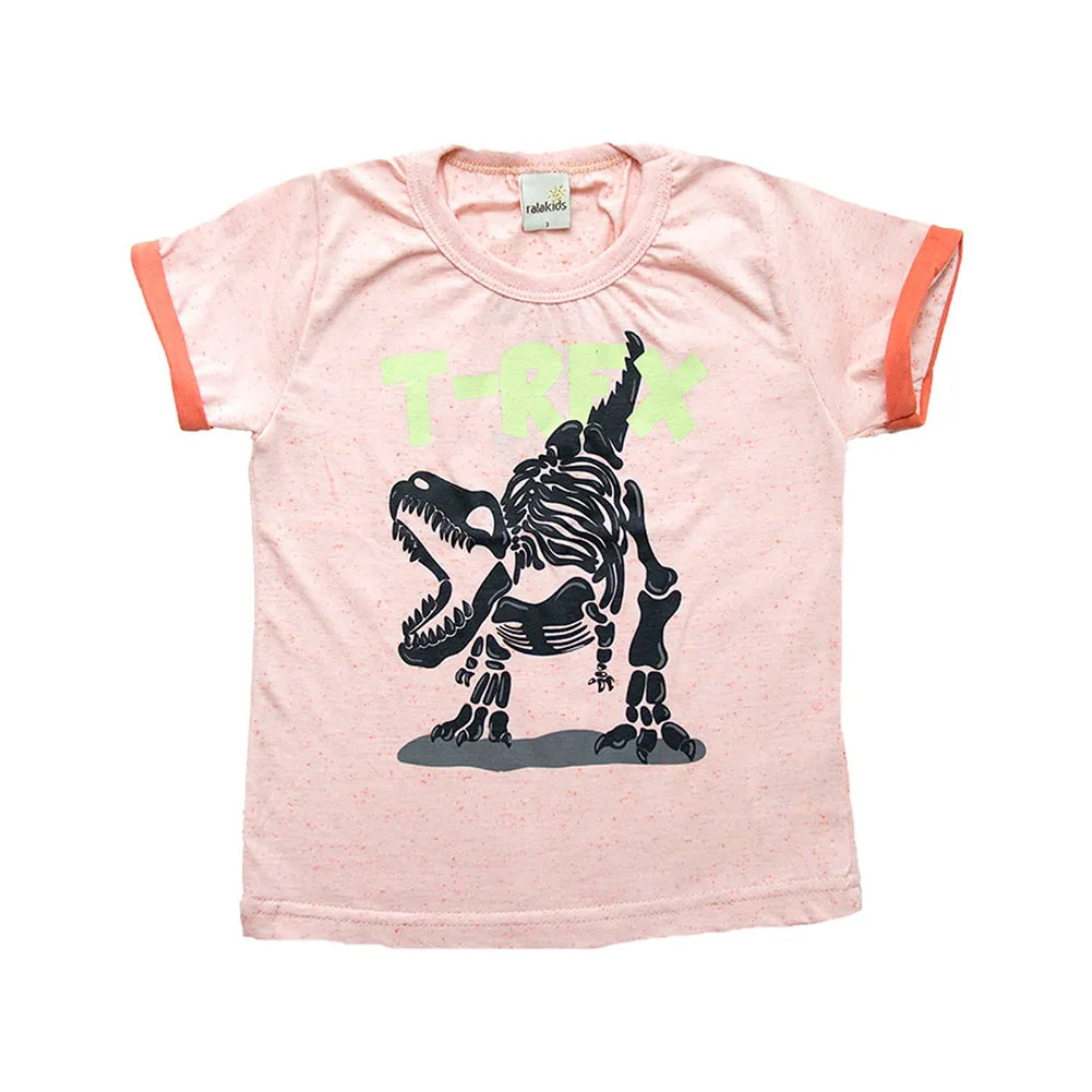 Camiseta Infantil T-Rex Laranja  - Jeito Infantil