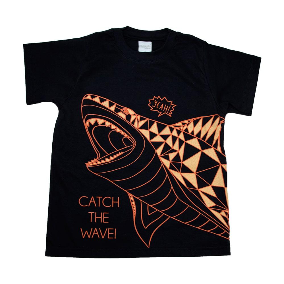 Camiseta Infantil Tubarão Preto  - Jeito Infantil