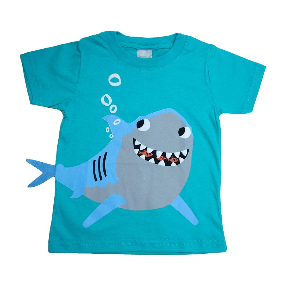 Camiseta Infantil Tubarão Verde  - Jeito Infantil