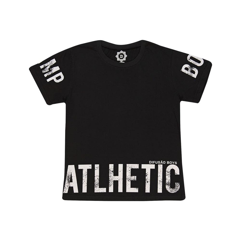 Camiseta Juvenil Atlhetic Preto  - Jeito Infantil