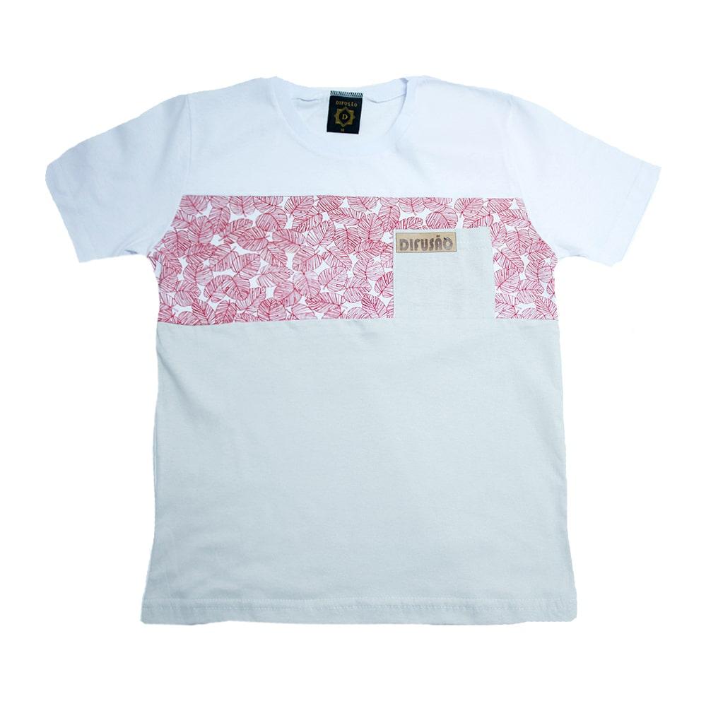 Camiseta Juvenil Folhagem Branca  - Jeito Infantil