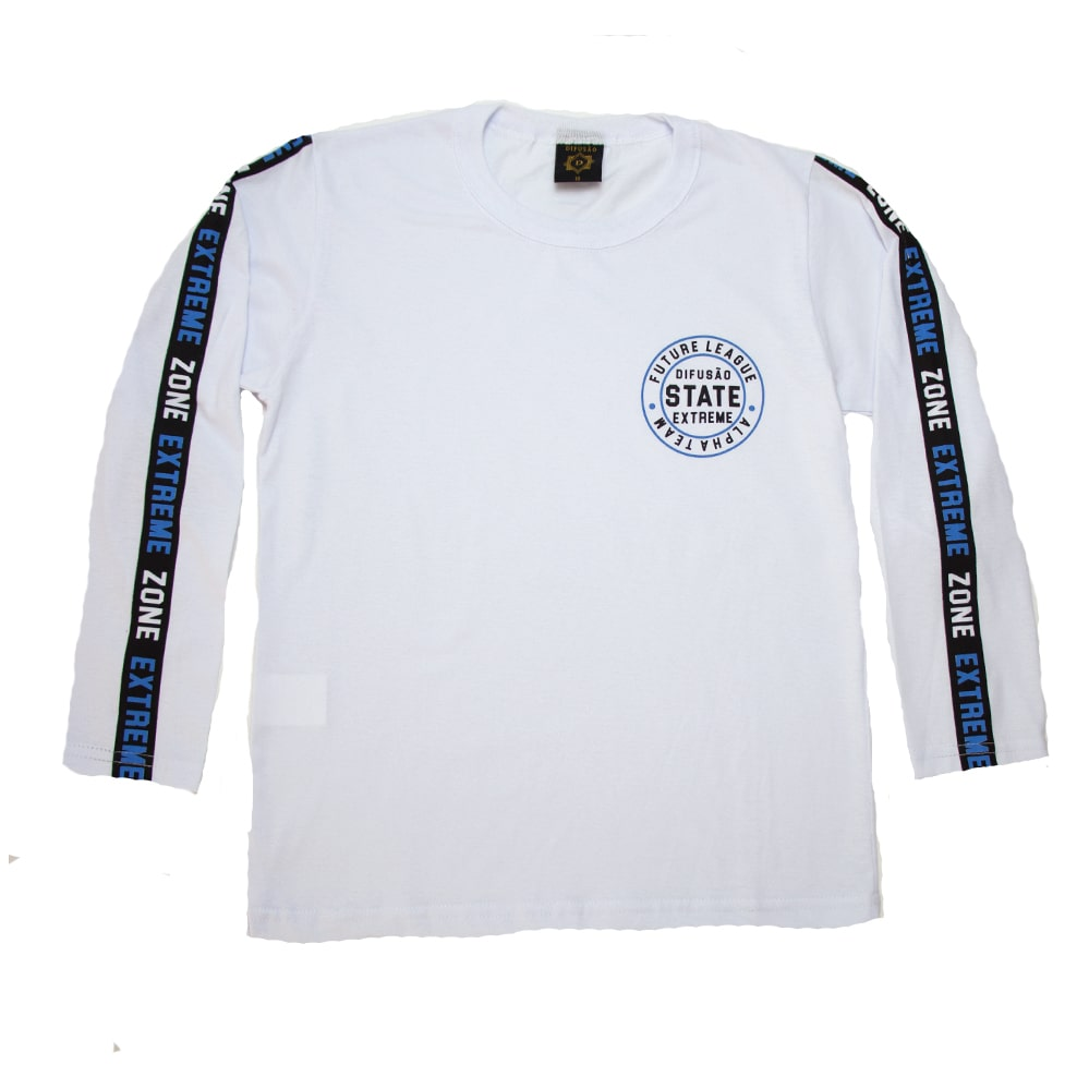 Camiseta Juvenil Manga Longa State Branca  - Jeito Infantil