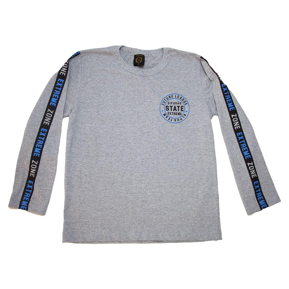Camiseta Juvenil Manga Longa State Mescla  - Jeito Infantil