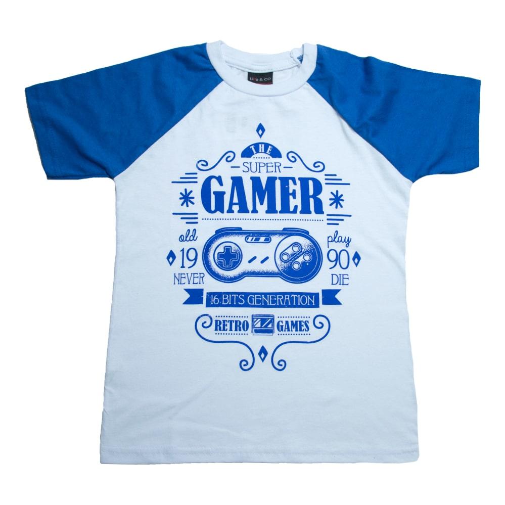 Camiseta Juvenil Super Gamer  Branco  - Jeito Infantil