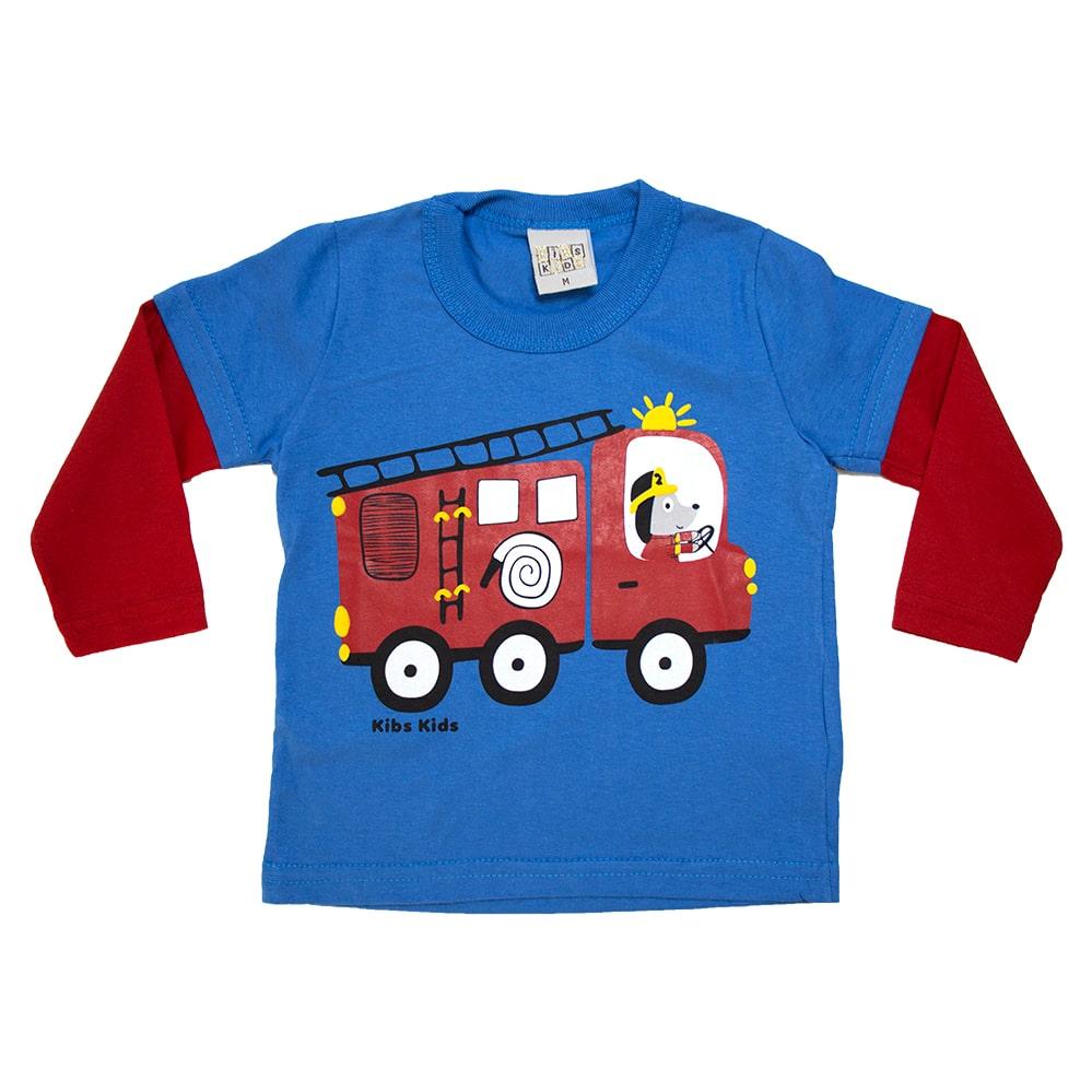 Camiseta Manga Longa Bebê Bombeiro Azul  - Jeito Infantil