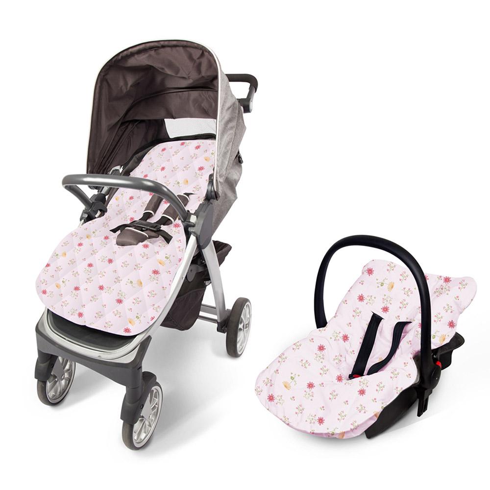 Capa Para Bebê Conforto e Carrinho Floral Rosa  - Jeito Infantil