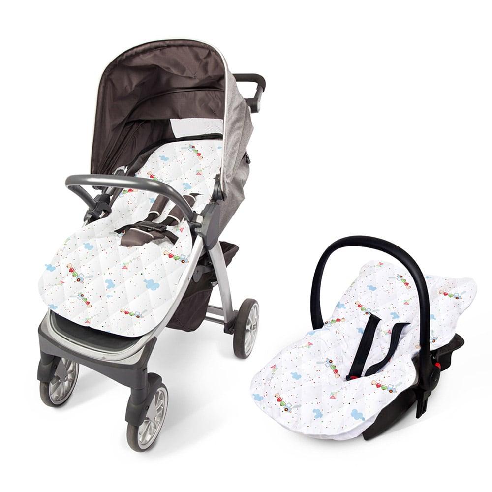 Capa Para Bebê Conforto e Carrinho Letrinhas Branca  - Jeito Infantil