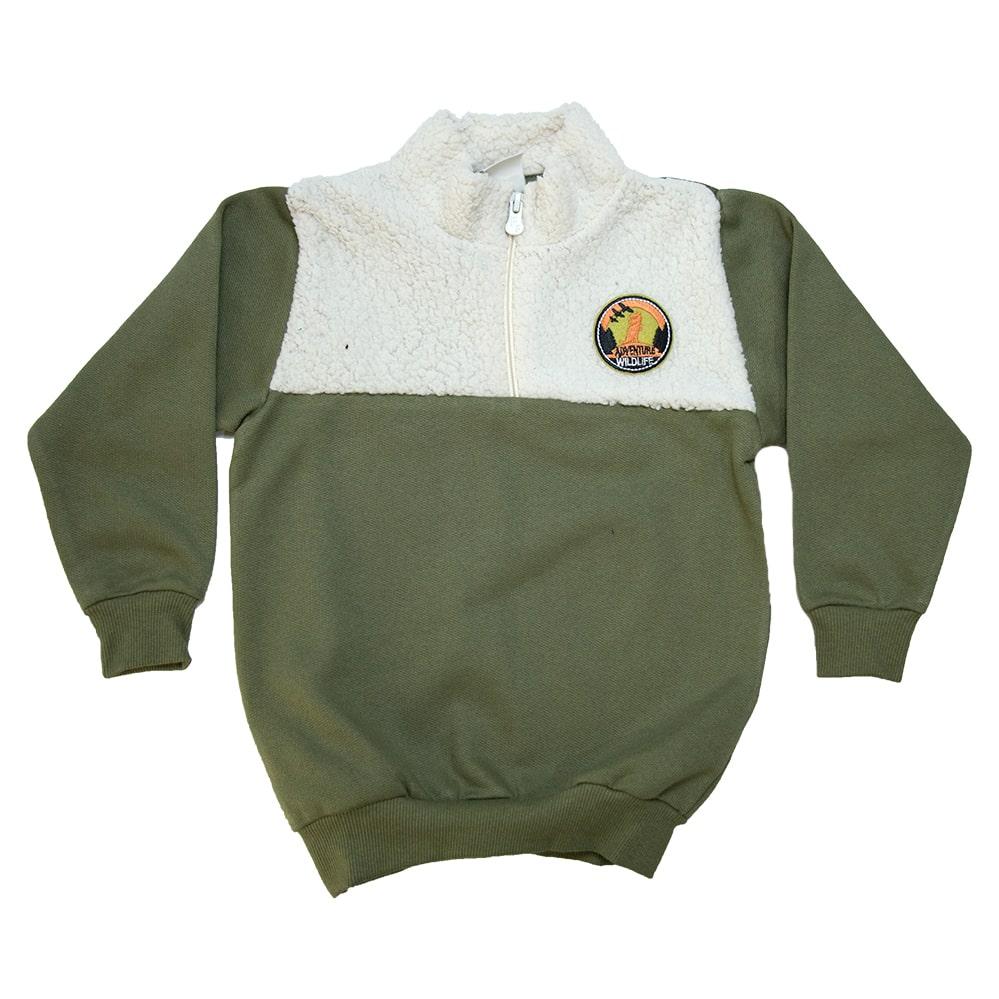 Casaco Infantil Com Pêlo  Verde Militar  - Jeito Infantil