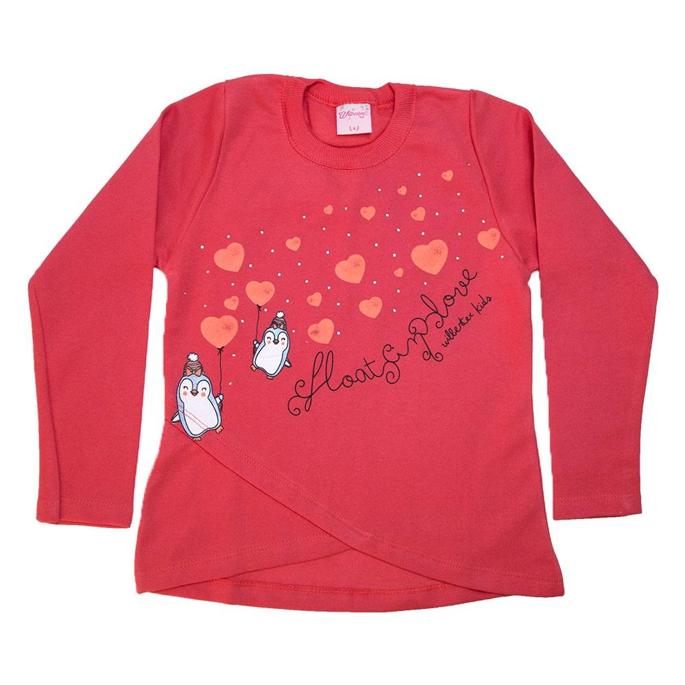 Casaco Infantil Love Pinguim Coral  - Jeito Infantil