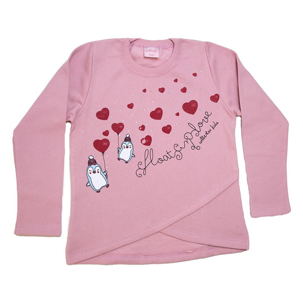 Casaco Infantil Love Pinguim Rosê  - Jeito Infantil