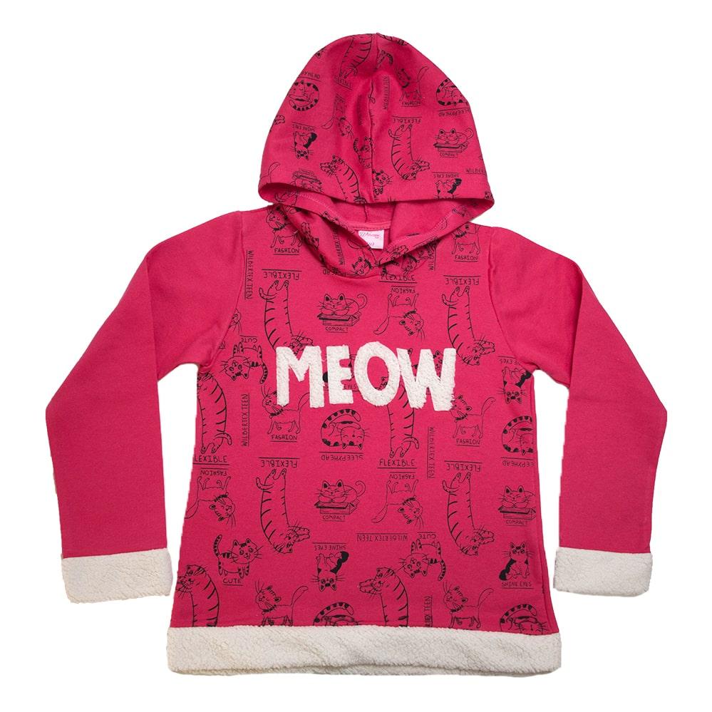 Casaco Juvenil Com Gatinhos Pink  - Jeito Infantil