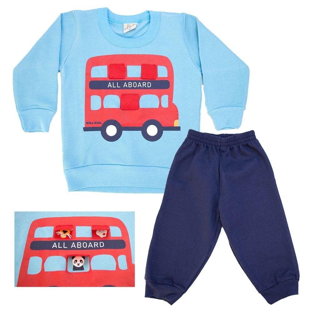 Conjunto Bebê All Aboard Azul  - Jeito Infantil