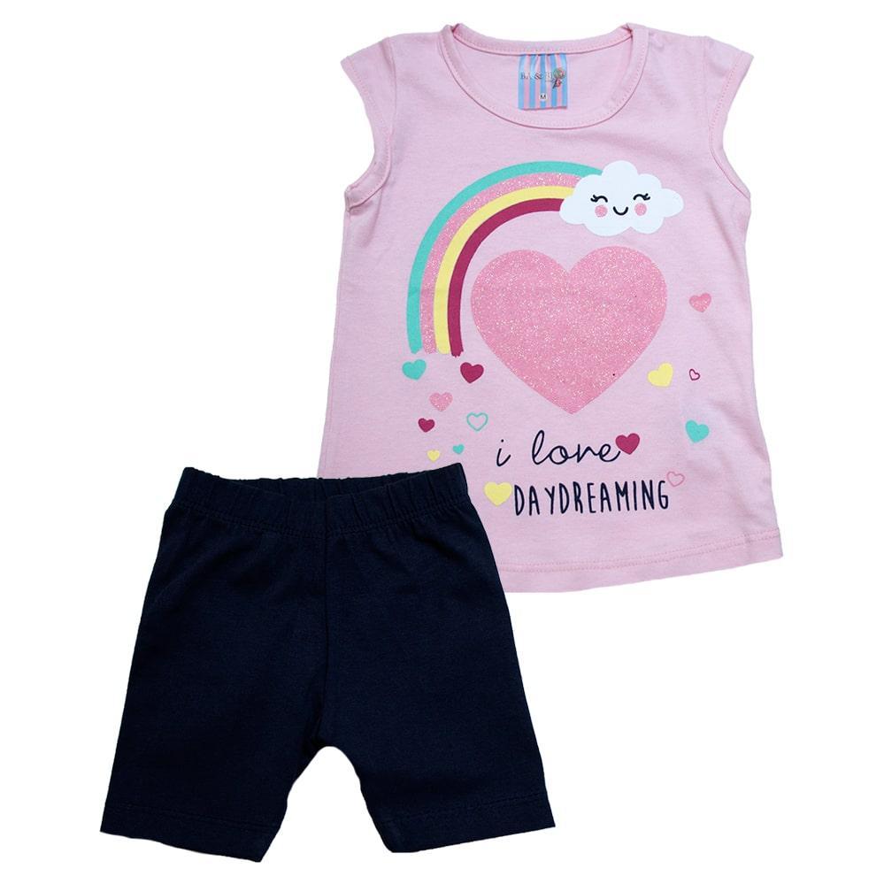 Conjunto Bebê Arco Íris Rosa  - Jeito Infantil