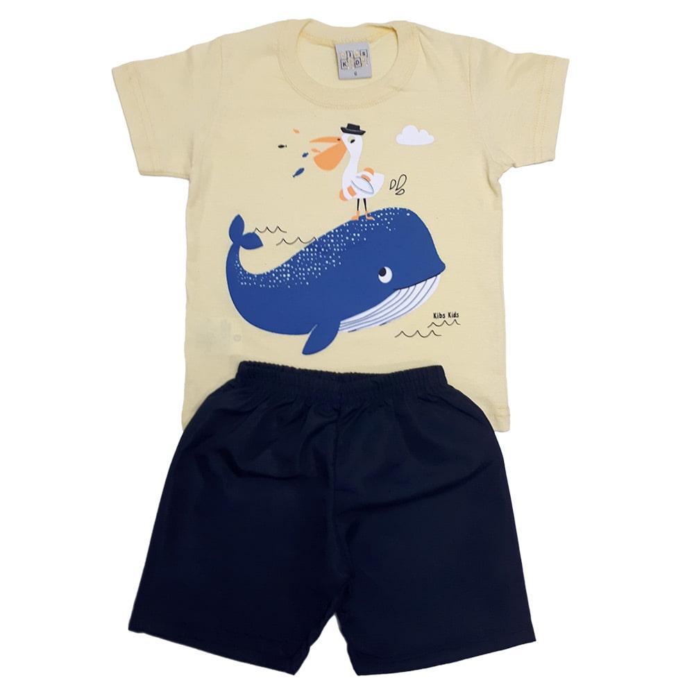 Conjunto Bebê Baleia Amarelo  - Jeito Infantil