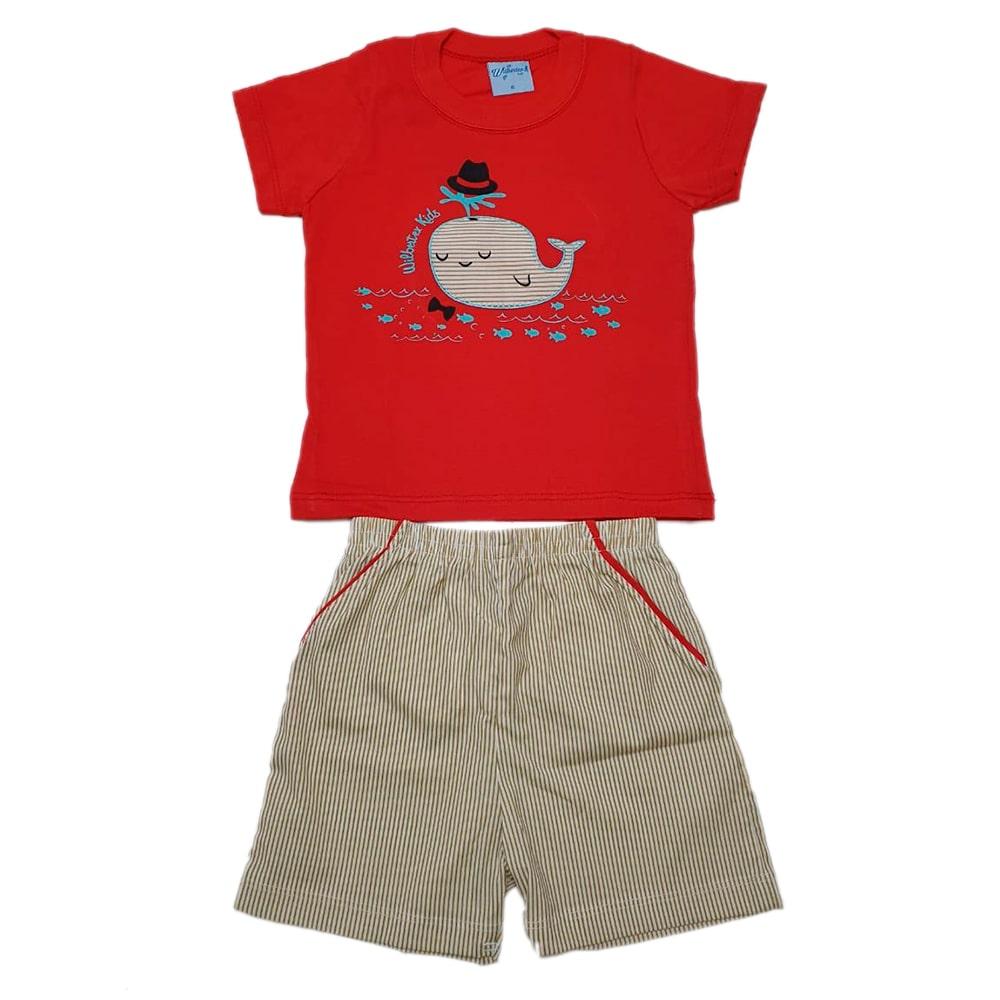 Conjunto Bebê Baleia Vermelho  - Jeito Infantil