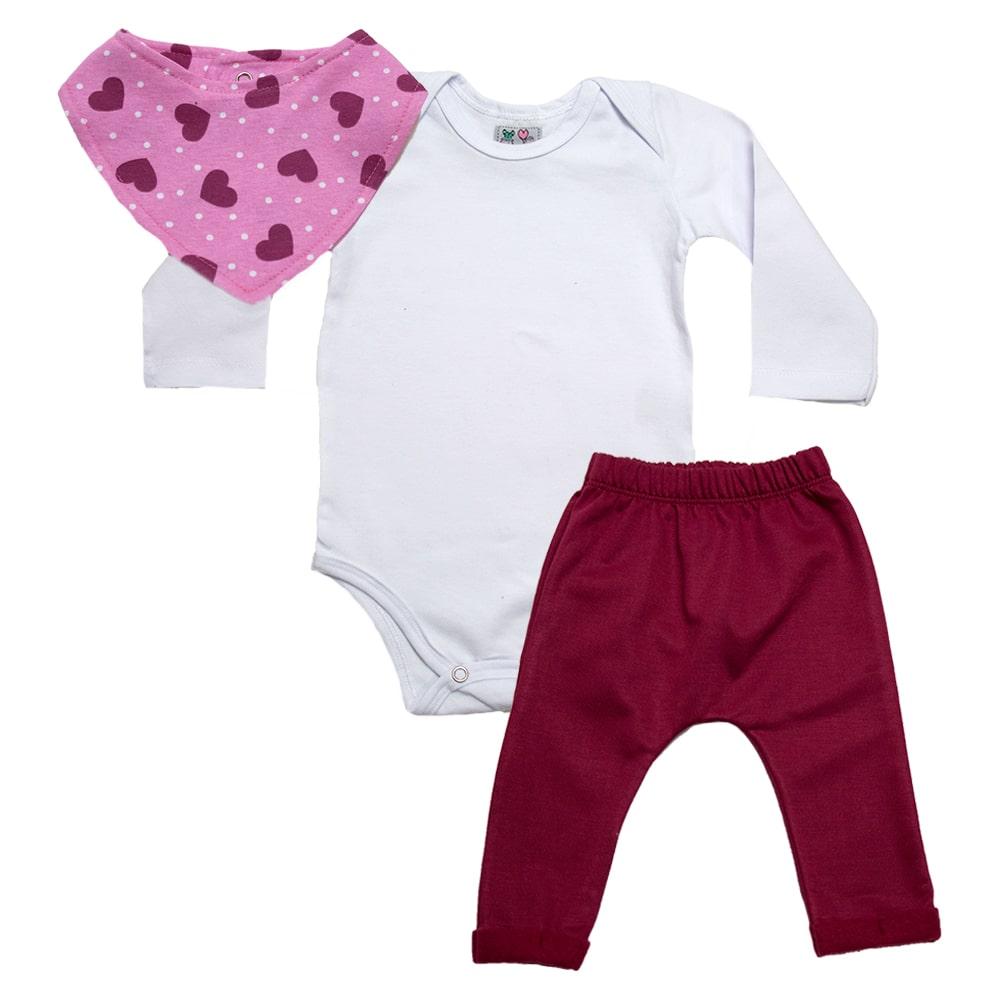 Conjunto Bebê Bandana Coração Branco Com Bordô  - Jeito Infantil