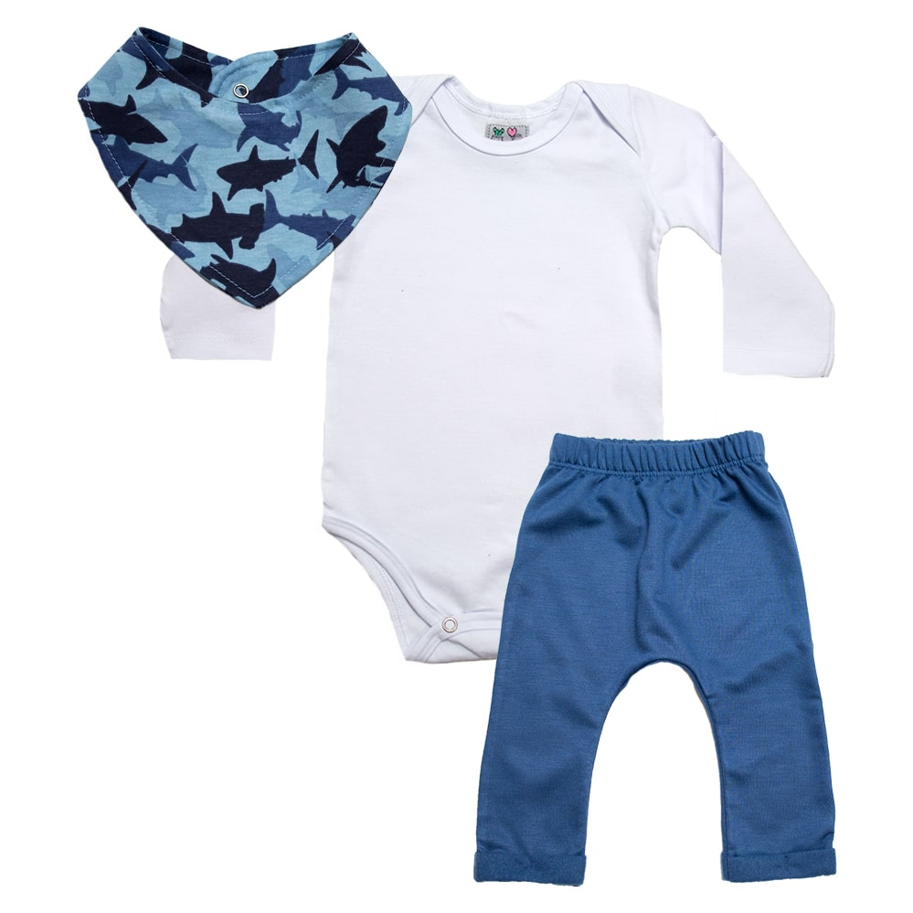 Conjunto Bebê Bandana Tubarão Branco Com Azul  - Jeito Infantil