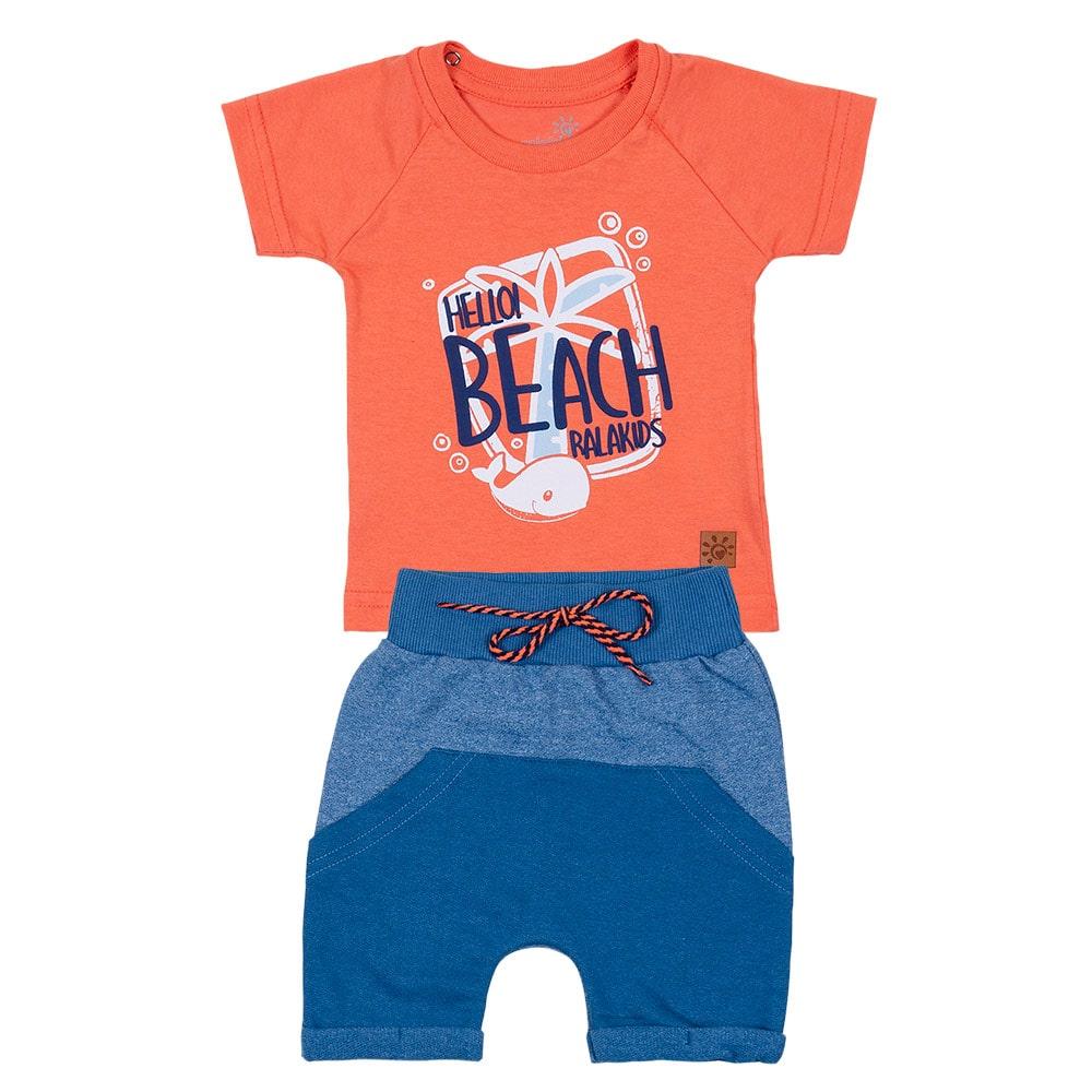 Conjunto Bebê Beach Laranja  - Jeito Infantil