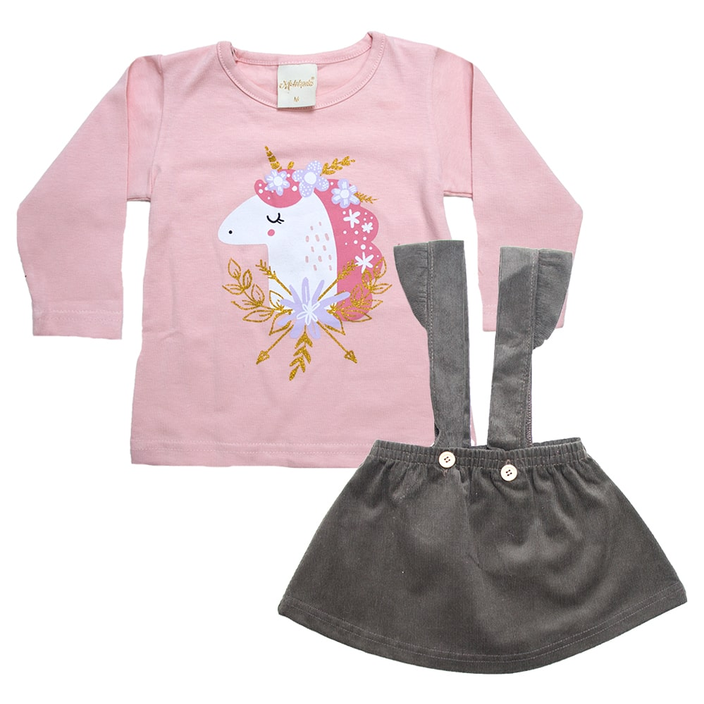 Conjunto Bebê Blusa e Salopete Marrom  - Jeito Infantil