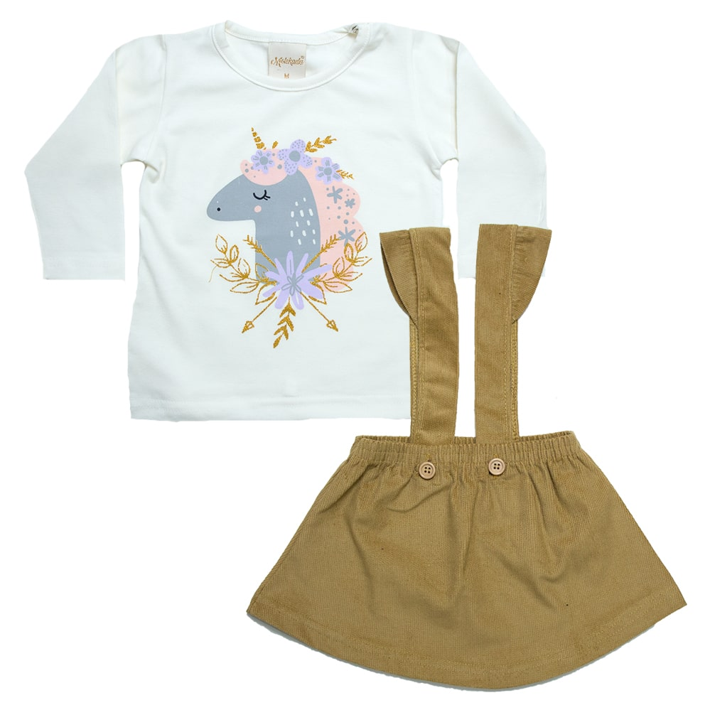 Conjunto Bebê Blusa e Salopete Mostarda  - Jeito Infantil