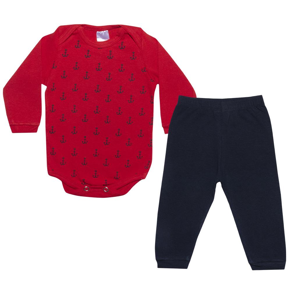 Conjunto Bebê Body Âncoras Vermelho  - Jeito Infantil