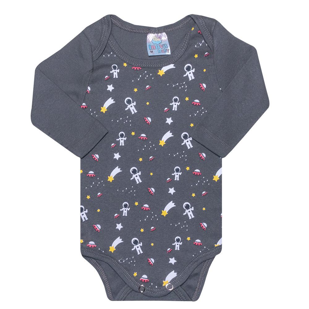 Conjunto Bebê Body Astronauta Chumbo  - Jeito Infantil