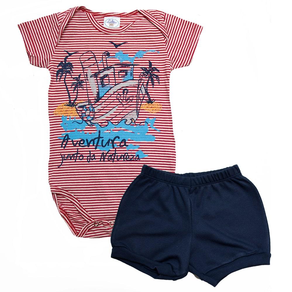 Conjunto Bebê Body Barquinho Listrado Branco e Vermelho  - Jeito Infantil