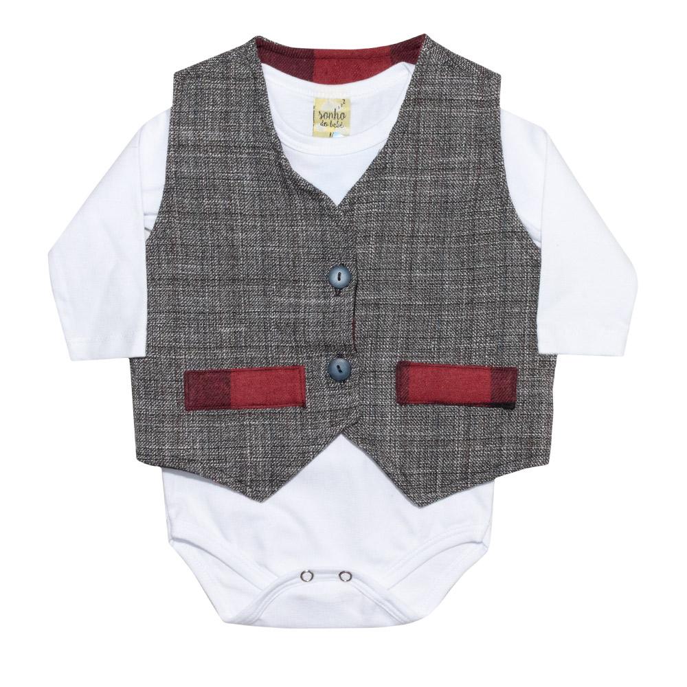 Conjunto Bebê Body, Calça e Colete Tecido  - Jeito Infantil