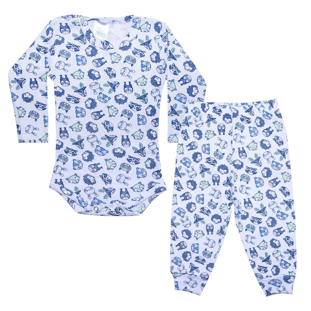 Conjunto Bebê Body Canelado Bichinhos Branco  - Jeito Infantil