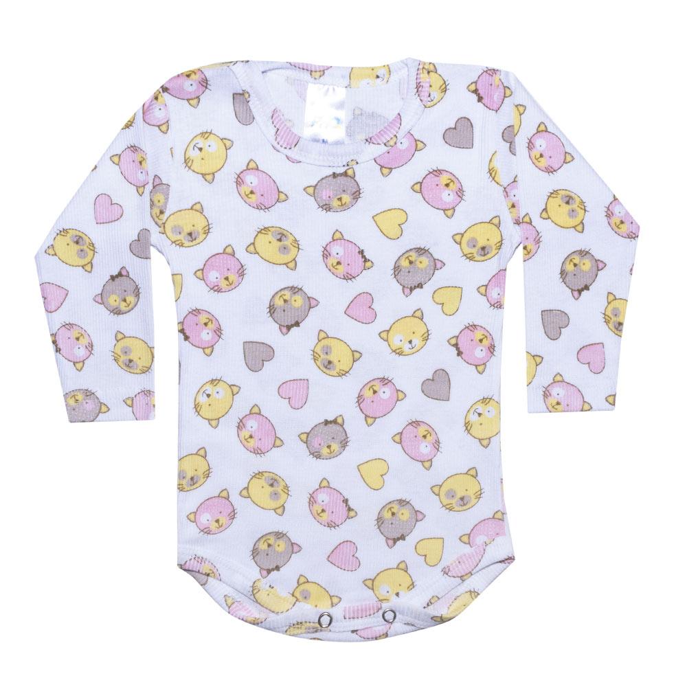 Conjunto Bebê Body Canelado Gatinhos Branco  - Jeito Infantil