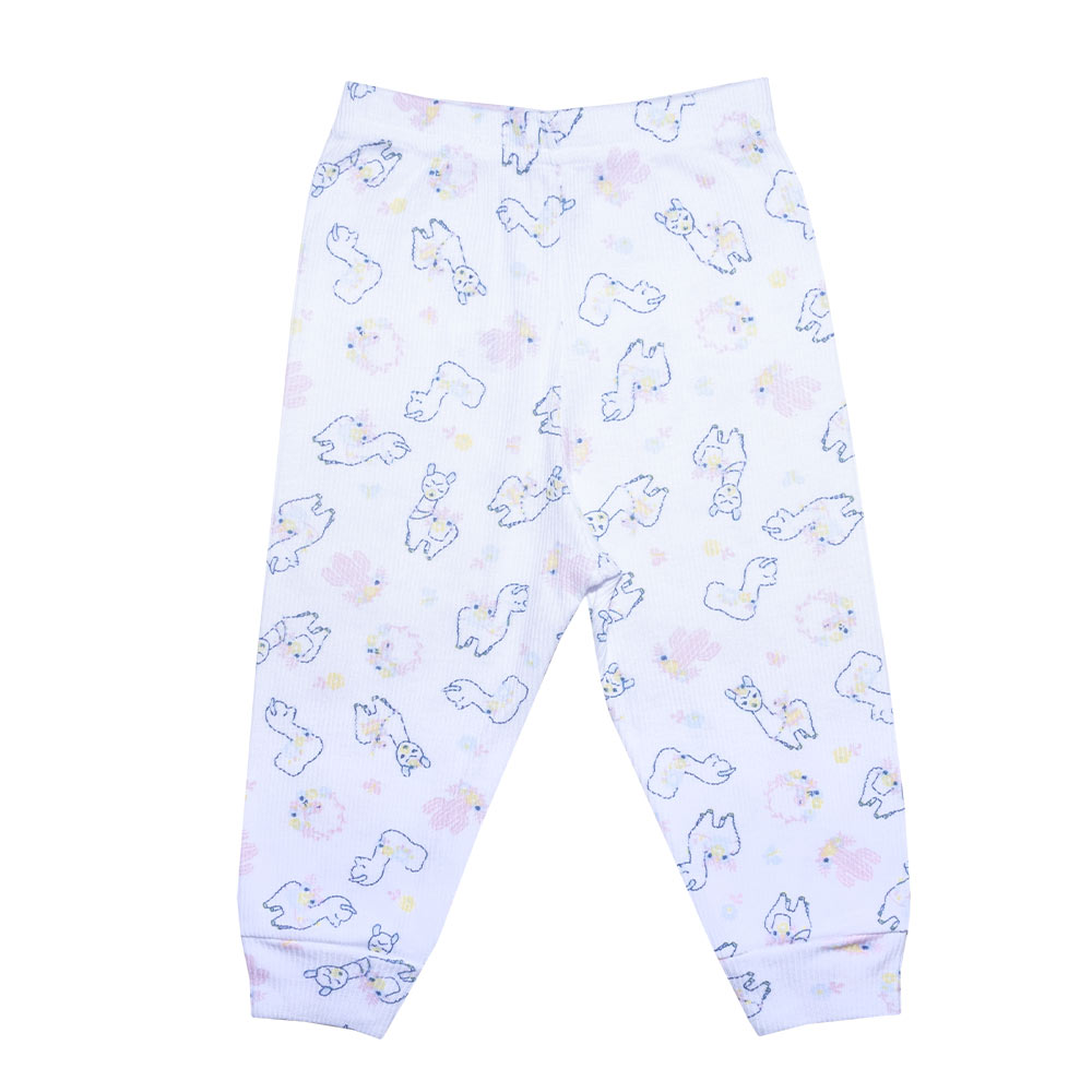 Conjunto Bebê Body Canelado Lhama Branco  - Jeito Infantil