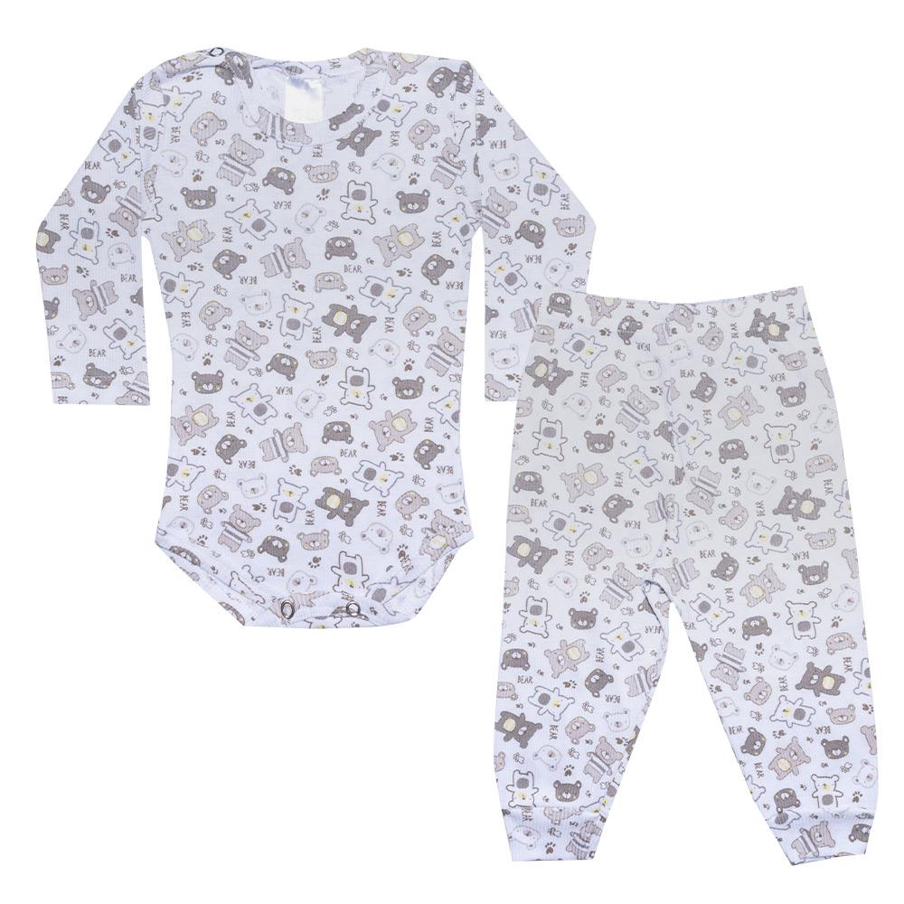 Conjunto Bebê Body Canelado Ursinhos Branco  - Jeito Infantil