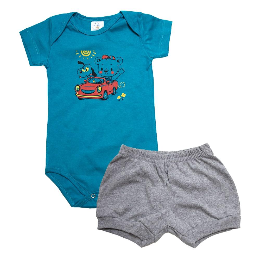 Conjunto Bebê Body Carrinho Verde  - Jeito Infantil