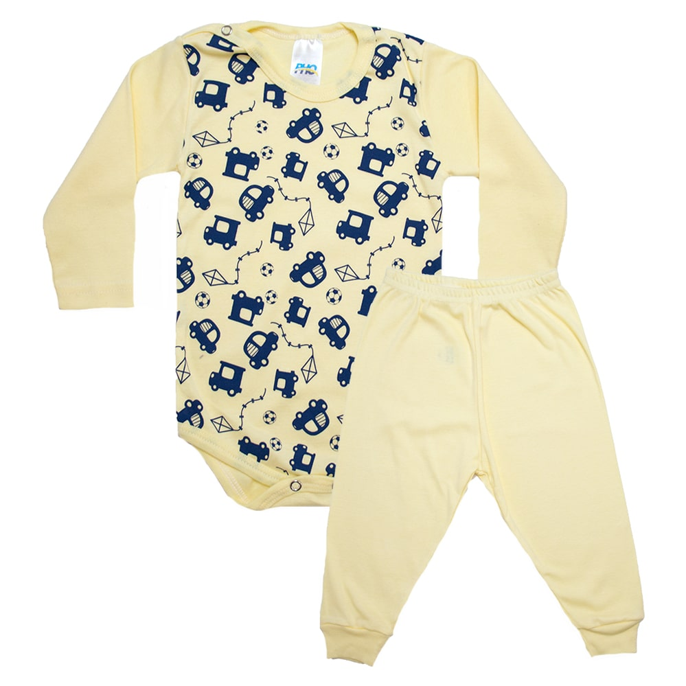 Conjunto Bebê Body Carrinhos  Amarelo e Azul  - Jeito Infantil