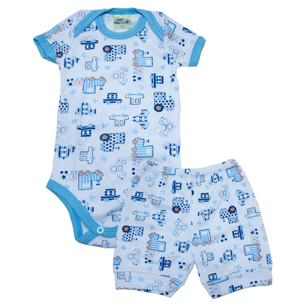 Conjunto Bebê Body Carros Branco e Azul  - Jeito Infantil